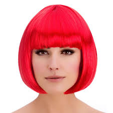 ladies diva short hair bob wig fringe fancy dress hollywood 80s