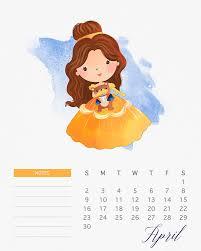 free printable 2017 watercolor princess calendar cottage market