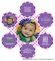 Happy Christening Invitation Card F1 Digital Scrapaholic Pink And Purple 6 Petals Flower Invites
