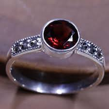 real stone rings images Real pure 925 sterling silver jewelry vintage thai red garnet ring jpg