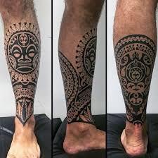 mens hawaiian sun tribal leg tattoos hawaiian tattoos