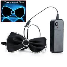 flashing light up el wire bow tie necktie led mens party lights