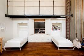 bedroom simple loft bedroom idea feat compact white media storage