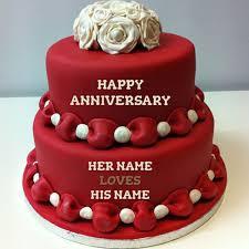 anniversary cake write name on happy anniversary cakes online free
