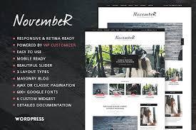 november personal blog theme wordpress template blog