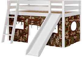 camo cabin white jr tent loft bed with slide beds colors