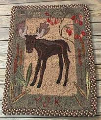 moose primitive rug hooking sample rug designs from the quail