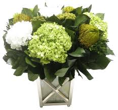 white floral arrangements brunia yellow banksia green hydrangea basil white floral
