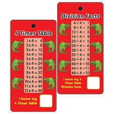 pocket prompts 4 times tables u0026 division facts pack of 10