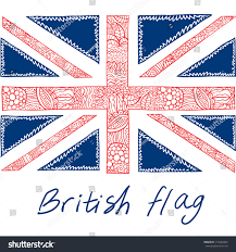 Beitish Flag Cute British Flag Ornamented Style Stock Vector 110543402