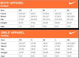 nike size chart athletics canada