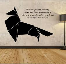 origami fox geometric vinyl wall decal sticker art decor bedroom