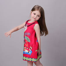 fashion cute girls print cartoon dresses for age 8 to 8 years old