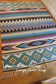 Aztec Style Rugs Mexican Aztec Floor Rug Large Blue Beach Style Tulum Cotton Rug