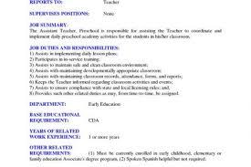 preschool assistant teacher resume preschool teacher resume objective preschool teacher resume