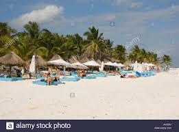 huts at palm beach mexico tulum stock photo royalty free image