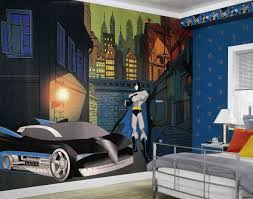 Bedroom Batman Bedroom Ideas Using Wallpaper And Grey Bedding For - Batman bedroom decorating ideas