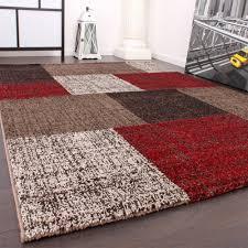 Wohnzimmer Design Rot Designer Teppich Muster Karo Creme Rot Braun Meliert Wohn Und