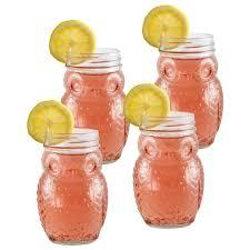 set of 4 owl glass mason jars pfaltzgraff set of 4 owl glass mason jars