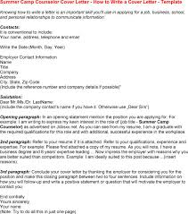 camp counselor resume job placement counselor cover letter