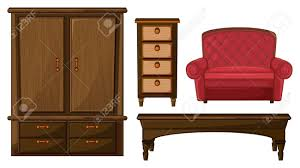illustration of a closet drawer table and a couch on a white