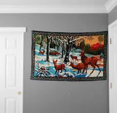large vintage turkish deer wall hanging tapestry wall hanging large vintage turkish deer wall hanging tapestry wall hanging art textile buck hunting mural