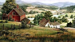 1920x1080 hills farm houses river valley desktop pc and mac wallpaper