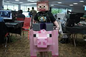 Minecraft Costume Steve Riding A Pig Minecraft Cardboard Halloween Costume With