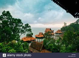 luxury hotel bungalows on water langkawi island malaysia stock