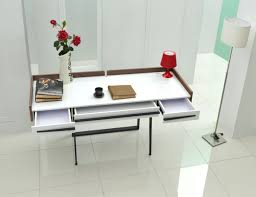 Modern White Office Table Nova Domus Branton Contemporary White U0026 Walnut Office Desk Desks