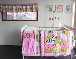 Animal Print Crib Bedding Sets Zebra Giraffe Monkey Anmial Embroidery Baby Bedding Sets 8