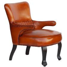 Queen Anne Style by Wallace Sacks Brummel Queen Anne Style Leather Armchair