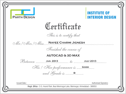 Certificate Of Interior Design by Welcome To The Parth Design Institute