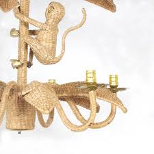 Wicker Light Fixture by Mario Torres Wicker Monkey Chandelier At 1stdibs