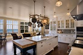 kitchen island with hanging pot rack pot rack with lights for kitchen
