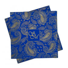 indian wedding card wedding card in blue with traditional paisley designs