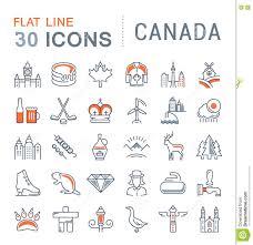 kanada fläche stellen sie vektor flache linie ikonen kanada ein stock abbildung