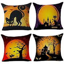Cusion Cover Amazon Com Hosl Pw01 4 Pack Happy Halloween Square Decorative