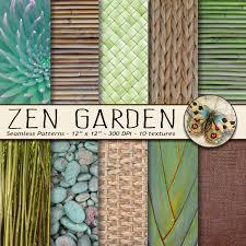 zen garden digital paper lotus bamboo basket weave