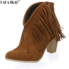 womens boots size 11 12 buy suede fringe boots and get free shipping on aliexpress com