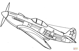 yakovlev yak 3 fighter aircraft coloring page free printable