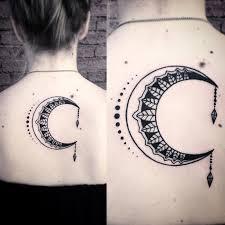 crescent moon design by webb tattoonow