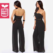 strapless jumpsuit black fashion jumpsuit black color chiffon strapless
