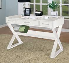 Writing Desks For Home Office Home Office Desk With Triangular Legs In White Finish