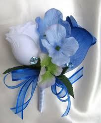 Royal Blue Boutonniere Wedding Bouquet Bridal Silk Flowers Cascade By Rosesanddreams