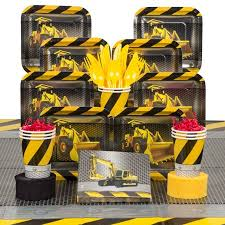 construction party supplies construction deluxe tableware kit serves 8 party supplies