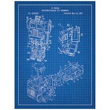 Wall Blueprints Optimus Prime G1 Toys And Collectibles Patent Poster Blueprint