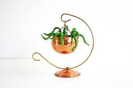 sold vintage coppercraft guild planter with stand mid century