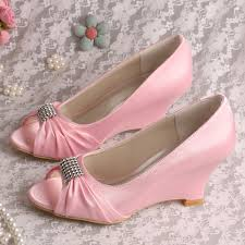 wedding shoes size 9 pink wedding shoes princess wedge heel shoes peep toe with