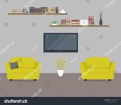 Yellow Living Room Living Room Yellow Armchairs Home Cinema Stock Vector 601821680